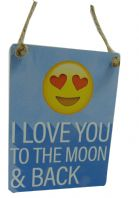'I LOVE YOU TO THE MOON AND BACK ' MINI METAL SHABBY CHIC PLAQUE..
